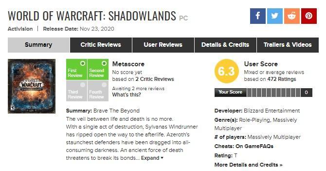 World of Warcraft: Shadowlands специально снижают оценку
