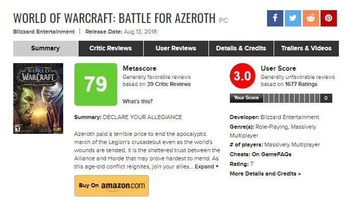 World of Warcraft: Shadowlands пользователи занижают среднюю оценку
