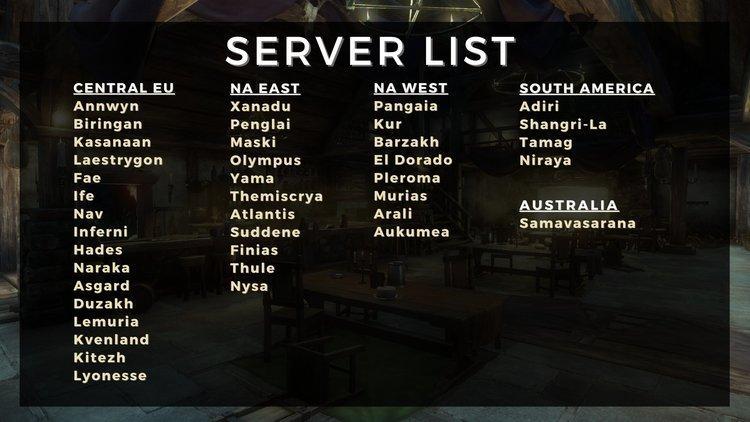 Появился список всех серверов New World перед ЗБТ