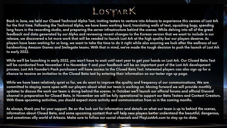 Дату выхода западной версии LOST ARK перенесли