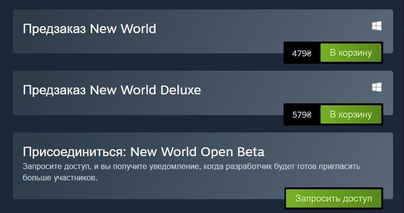 На ОБТ New World можно подать заявку в Steam